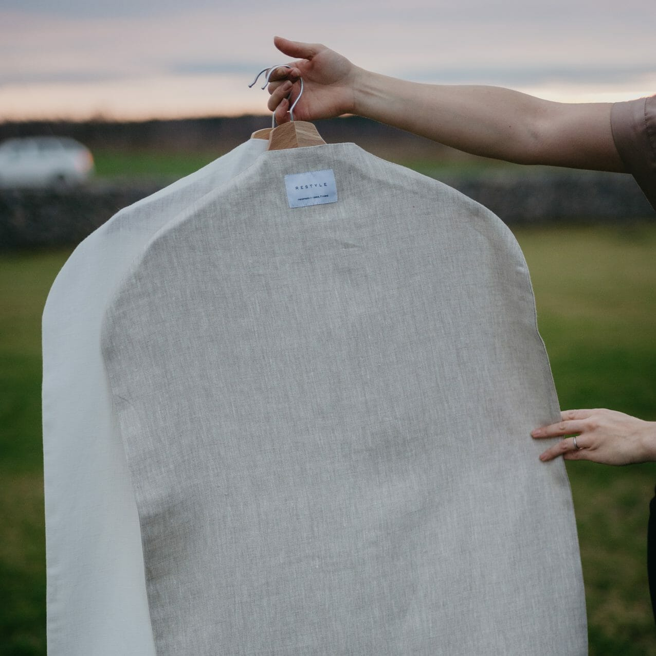 Linen clothing cover. Natural storage bag for clothes in linen. Handmade in Finland by RESTYLE.